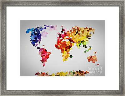 Low Poly Colorful World Map Framed Print by Michal Bednarek
