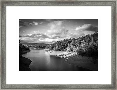 Low Sun Across The Nantahala River As The Clouds Clear Away Framed Print