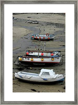 Framed Print featuring the photograph Low Tide At St. Ives Harbor by Carol Kinkead