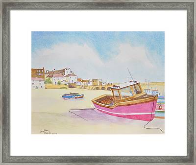 Low Tide Boat On The Beach Framed Print by Jonathan Galente
