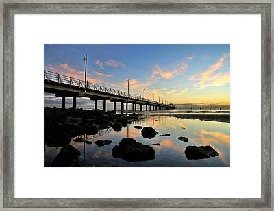 Low Tide Reflections At The Pier  Framed Print