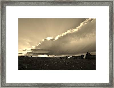 Low-topped Supercell Black And White  Framed Print