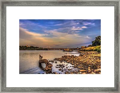 Low Water Vistula Riverscape In Warsaw Framed Print