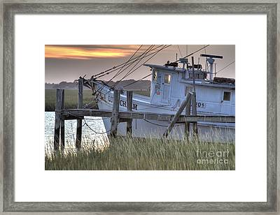Lowcountry Shrimp Boat Sunset Framed Print