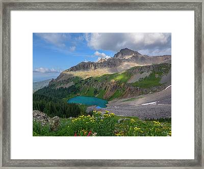 Framed Print featuring the photograph Lower Blue Lake And Mt. Sneffels by Aaron Spong