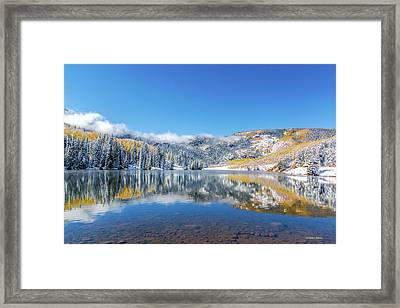 Lower Cataract Lake Fall Snow Scene Framed Print