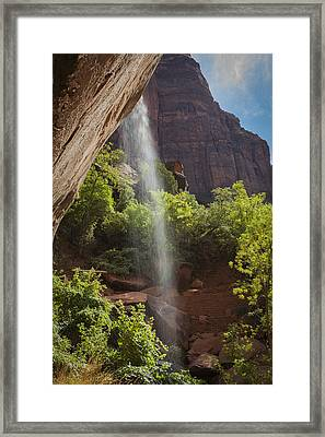 Lower Emerald Pool Falls In Zion Framed Print
