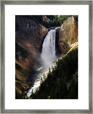 Lower Falls At Yellowstone Framed Print by Mary Capriole