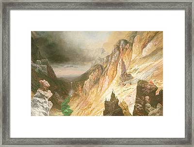 Lower Falls, Grand Canyon Of The Yellowstone River Framed Print by Charles H Chapin