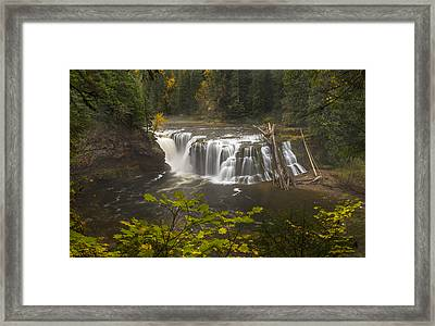 Lower Falls In Autumn Framed Print by Loree Johnson