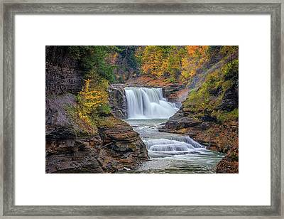 Lower Falls In Autumn Framed Print by Rick Berk