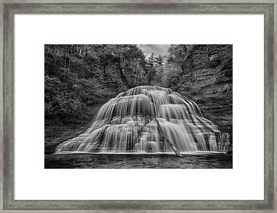 Lower Falls In Monochrome Framed Print