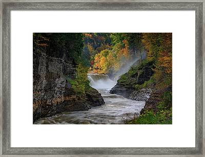 Lower Falls Of The Genesee River Framed Print by Rick Berk