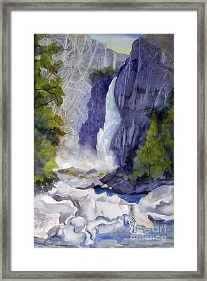 Framed Print featuring the painting Lower Falls by Pat Crowther