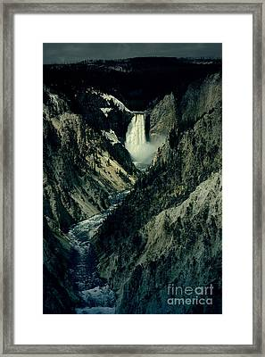 Lower Falls Viewed From Artist Point Yellowstone National Park Wyoming Lomo Digital Art Framed Print by Shawn O'Brien