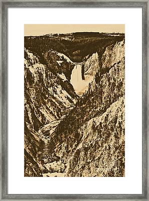 Lower Falls Viewed From Artist Point Yellowstone National Park Wyoming Rustic Digital Art Framed Print by Shawn O'Brien