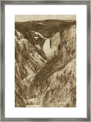 Lower Falls Viewed From Artist Point Yellowstone National Park Wyoming Vintage Digital Art Framed Print by Shawn O'Brien