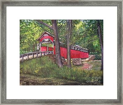 Lower Humbert Covered Bridge  Framed Print by Reb Frost