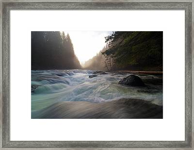 Lower Lewis River Falls During Sunset Framed Print by David Gn