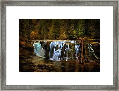 Lower Lewis River Falls In Autumn Framed Print
