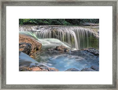 Lower Lewis River Falls Rush Framed Print by David Gn