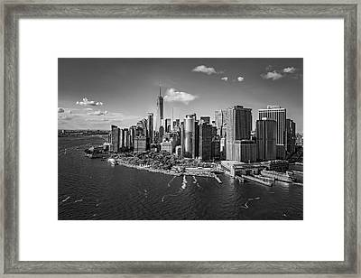 Lower Manhattan Aerial View Bw Framed Print by Susan Candelario