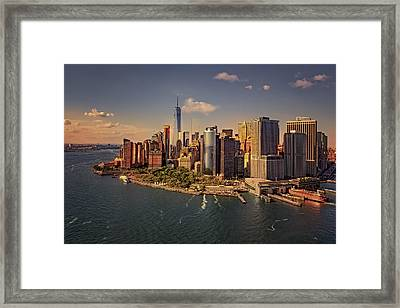 Lower Manhattan Aerial View Framed Print by Susan Candelario