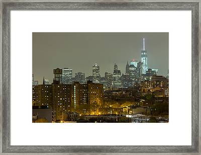 Lower Manhattan Cityscape Seen From Brooklyn Framed Print