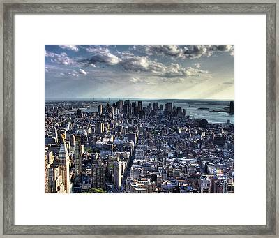 Lower Manhattan From Empire State Building Framed Print by Joe Paniccia