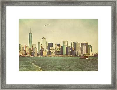 Lower Manhattan From The Ferry Framed Print by Erin Cadigan
