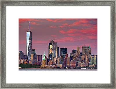 Framed Print featuring the photograph Lower Manhattan In Pink by Emmanuel Panagiotakis