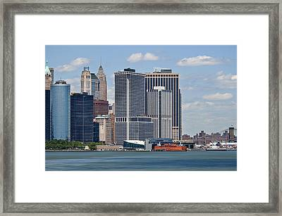Lower Manhattan Ny Harbor Framed Print by Alida Thorpe