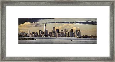 Lower Manhattan Panorama Framed Print by Eduard Moldoveanu