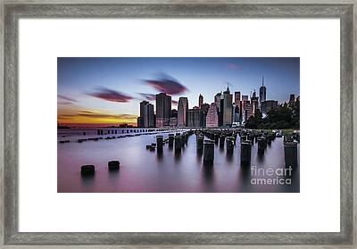 Lower Manhattan Purple Sunset Framed Print