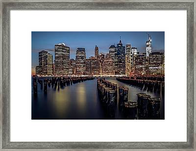 Lower Manhattan Skyline Framed Print by Eduard Moldoveanu