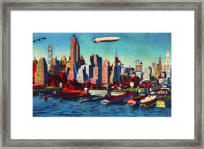 Lower Manhattan Skyline New York City Framed Print by Vincent Monozlay