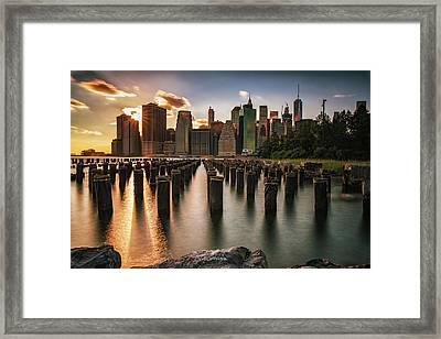 Lower Manhattan Sunset Twinkle Framed Print
