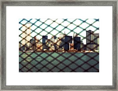 Lower Manhattan Through The Fence Framed Print by Kellice Swaggerty