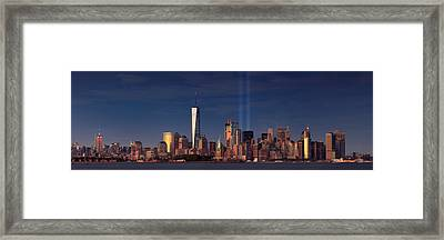 Framed Print featuring the photograph Lower Manhattantribute In Light by Emmanuel Panagiotakis