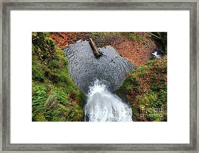Lower Multnomah Falls From Benson Bridge - Columbia Gorge Framed Print