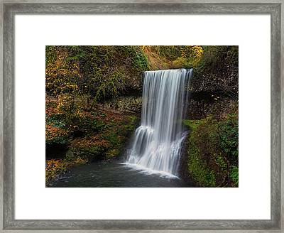 Lower South Falls Autumn Framed Print by Loree Johnson