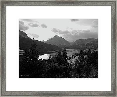 Lower Two Medicine Lake In Black And White Framed Print
