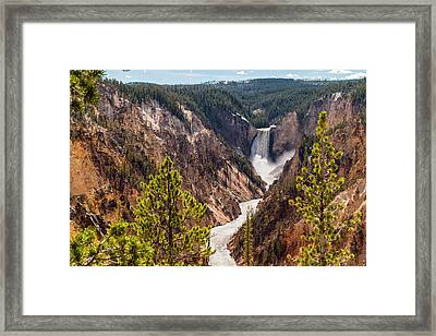 Lower Yellowstone Canyon Falls 5 - Yellowstone National Park Wyoming Framed Print by Brian Harig