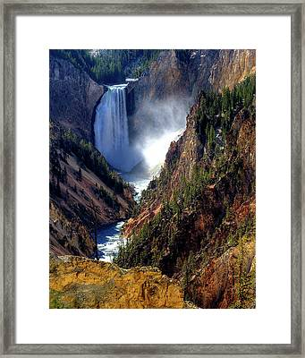 Lower Yellowstone Falls Framed Print by Alan W Cole
