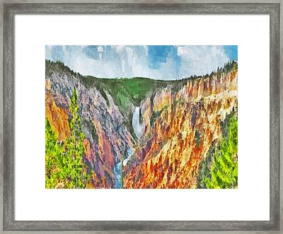 Framed Print featuring the digital art Lower Yellowstone Falls by Digital Photographic Arts
