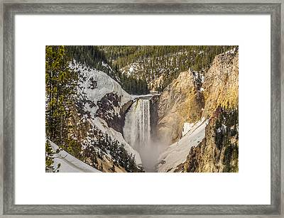 Framed Print featuring the photograph Lower Yellowstone Falls In Winter by Yeates Photography