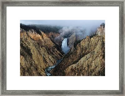 Lower Yellowstone Falls Sunrise Framed Print