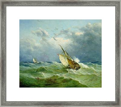 Lowestoft Trawler In Rough Weather Framed Print by John Moore