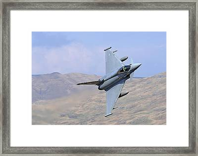 Lowflying Typhoon In The Welsh Hills 01 Framed Print by Barry Culling