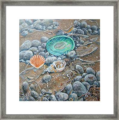 Lowtide Treasures Framed Print by Val Stokes